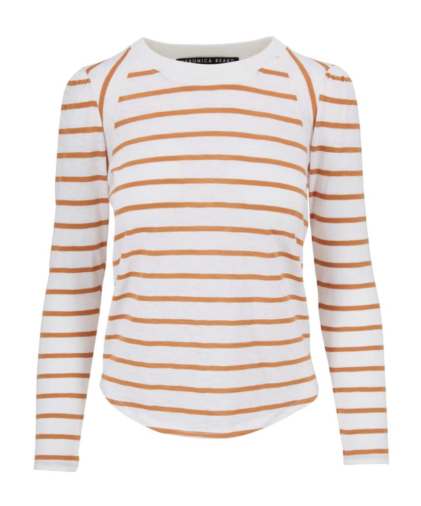 mason stripe camel white baseball tee veronica beard