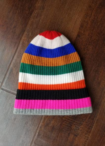 rainbow stripe bag hat bright multi autumn cashmere