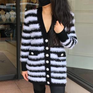 tamika cardigan black white stripes ronny kobo