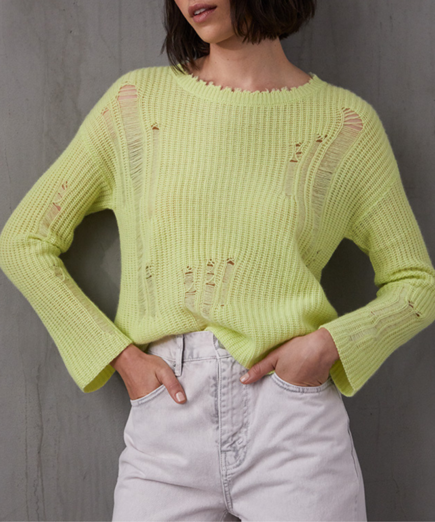 distressed shaker sweater glowstick autumn cashmere