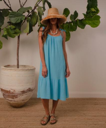lilou dress turquoise model honorine