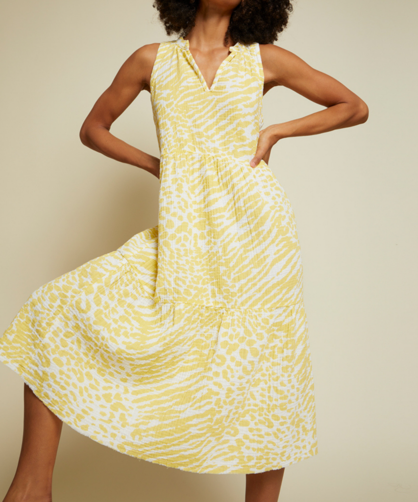 nadie dress wild yellow print nation ltd