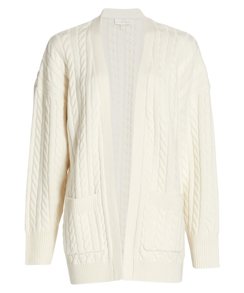 penny open front cable cardigan eggshell ronny kobo