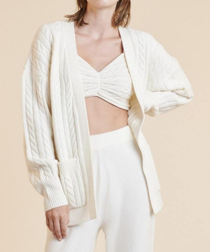 penny open front cable cardigan eggshell ronny kobo model