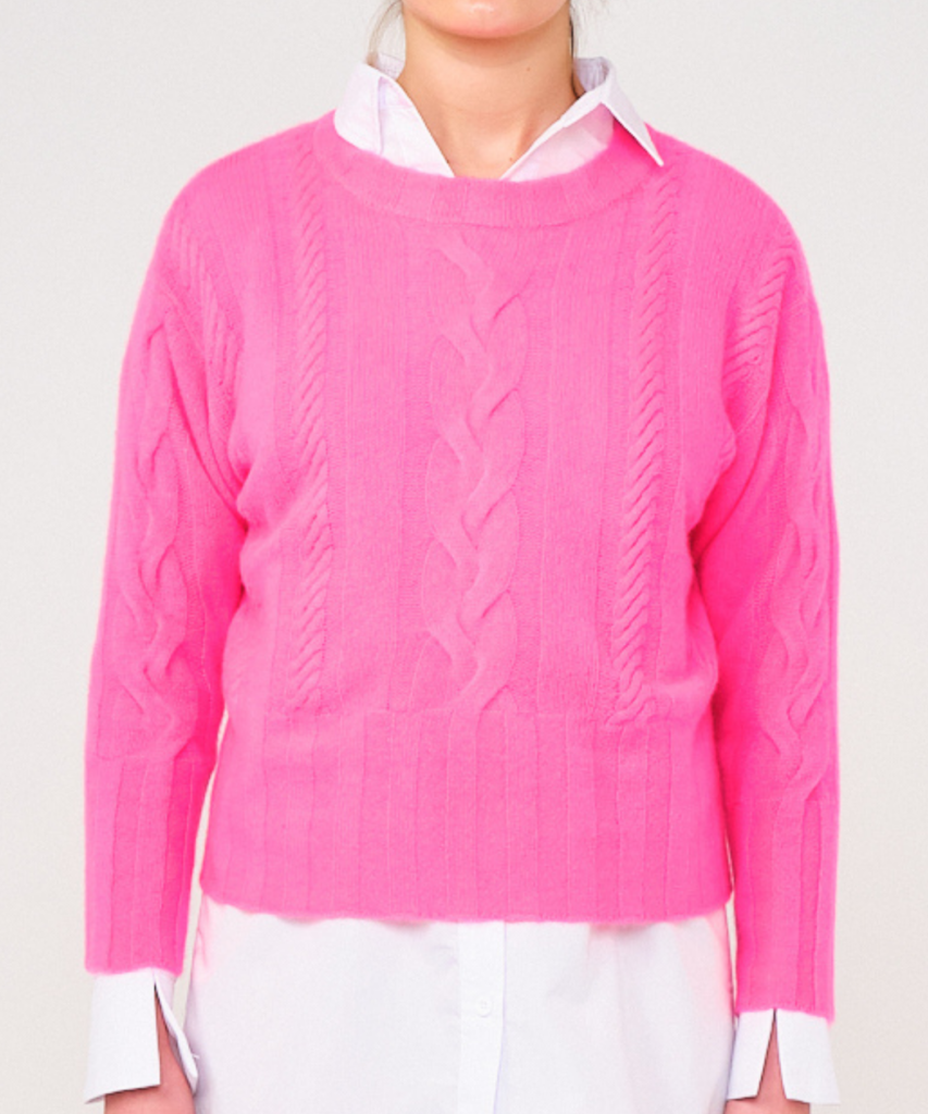 lily cable sweater neon pink brodie cashmere