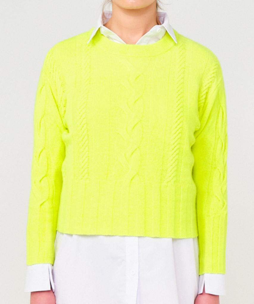 lily cable sweater neon yellow brodie cashmere