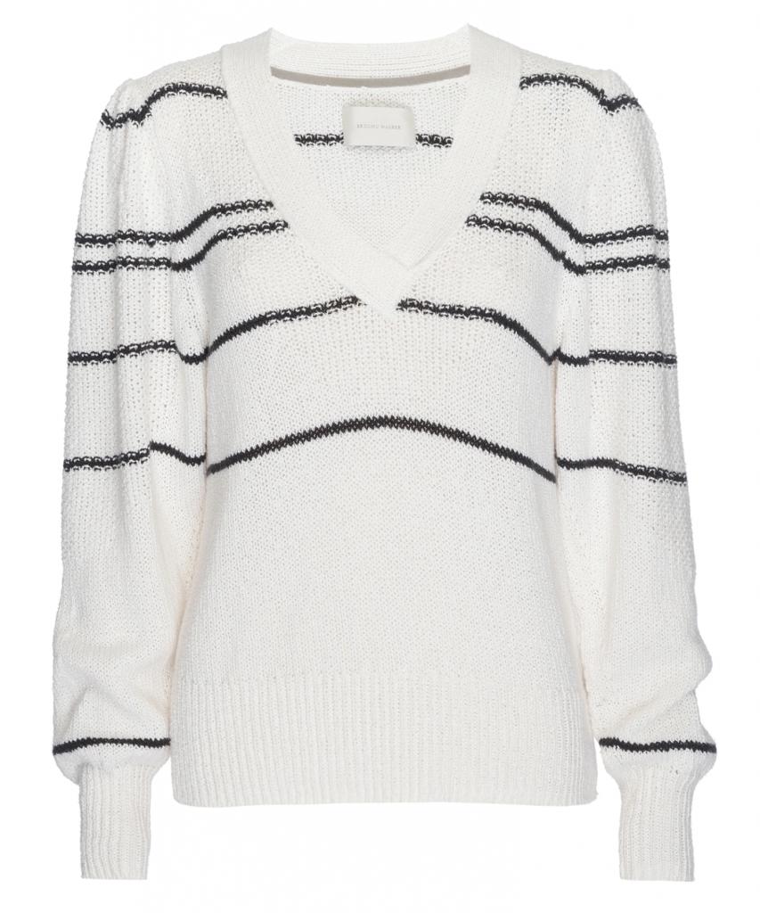 Sasha Striped Vee Sweater natural combo brochu walker