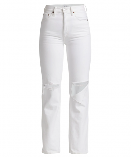 90s high rise loose jean white with rips redone
