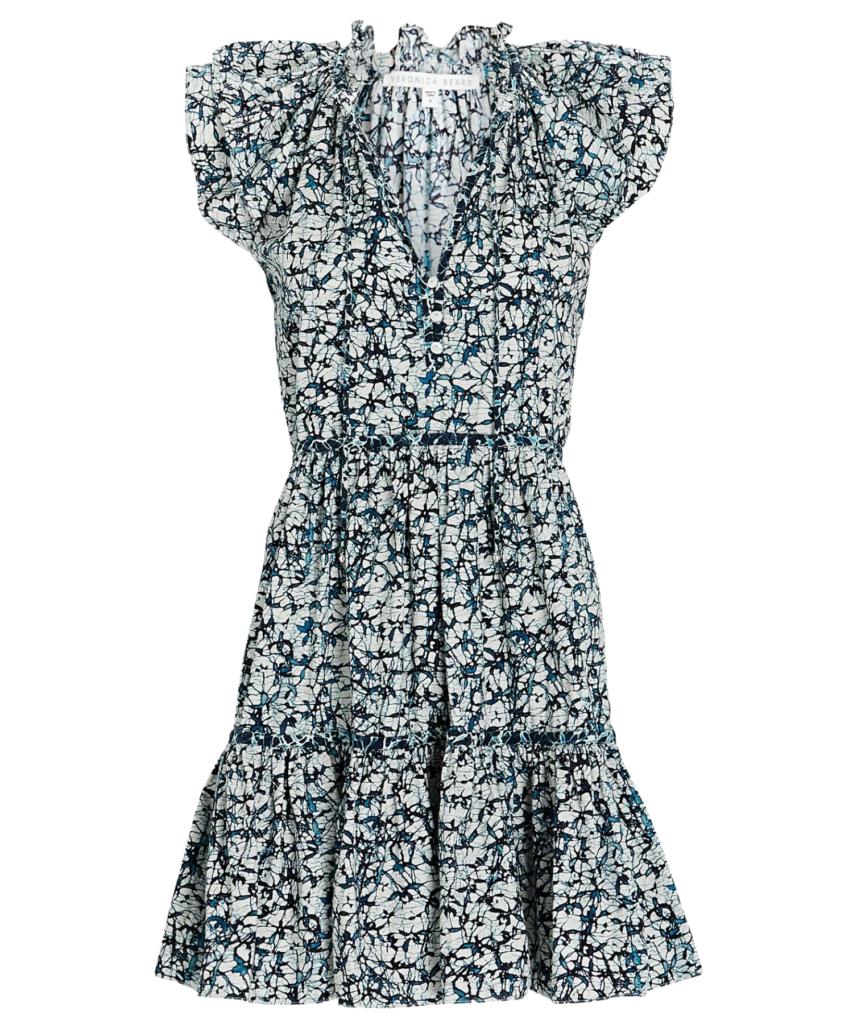 Zee Batik-Print Dress off white navy
