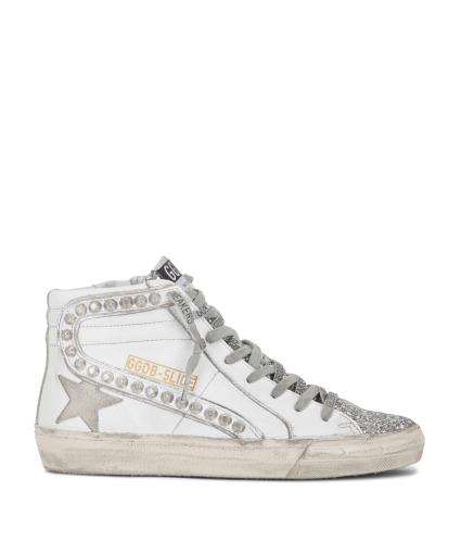 slide sneaker white leather silver stud glitter golden goose