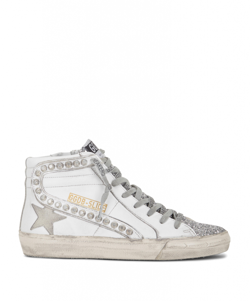 slide sneaker white leather silver stud glitter golden goose